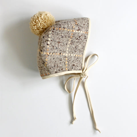 Winter Bonnet, Neutral Plaid Pom Pom