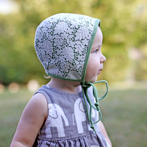 Woodland Lace Bonnet, Sage Green