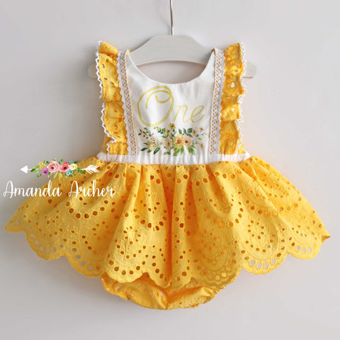 You Are My Sunshine, 1st Birthday Romper RTS