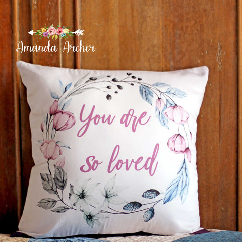 Calming Floral Wreath, Pillow Cover 18x18""