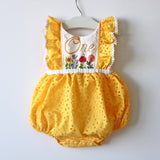 Custom 1st Birthday Romper, red eyelet, 2T/18/24M size combo