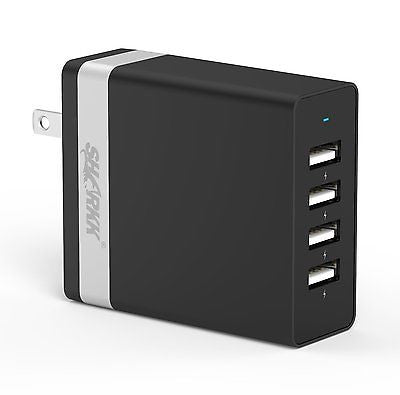 SHARKK 36W 4 Port High Speed USB Wall Plug Rapid Charger Travel Adapter - New
