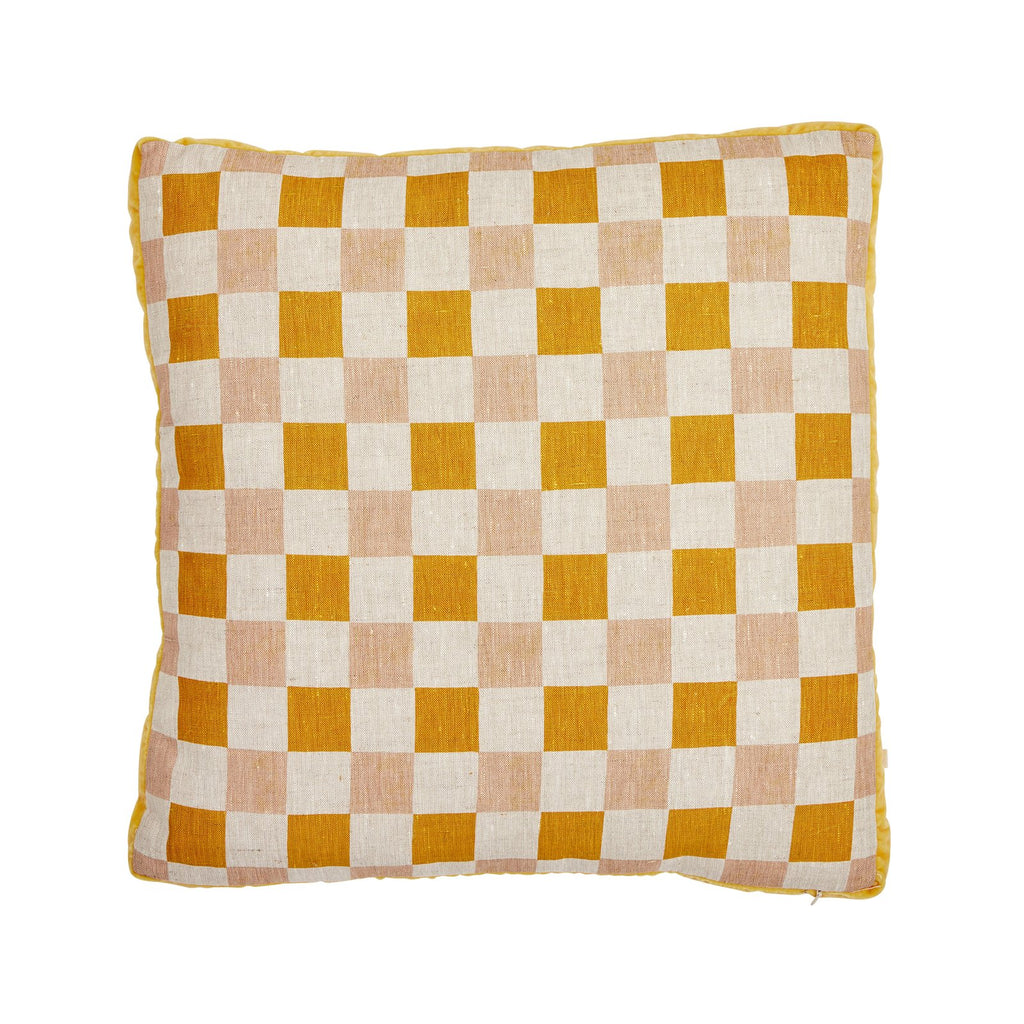 Bonnie + Neil - Cushion Checkers Golden 50cm