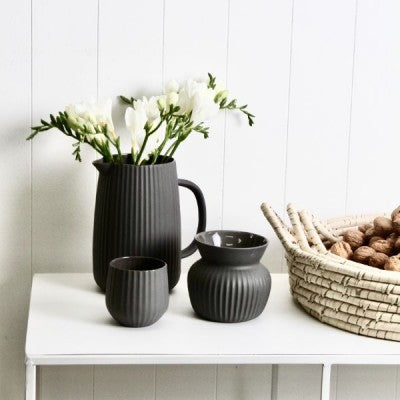 Flax Ceramic Vase - Ribbed Charcoal Small
