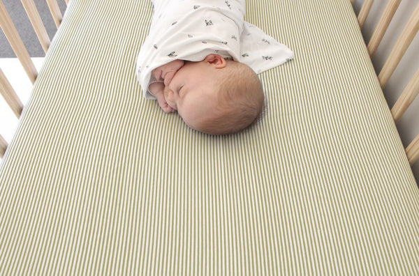 The Rest - Mustard Strip Fitted Cot Sheet