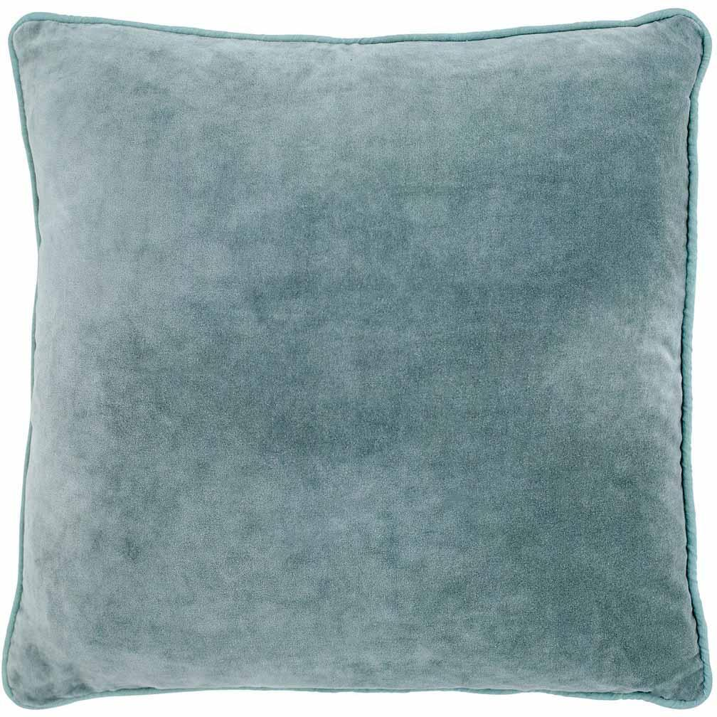 "Eadie - Velvet ""Lynette"" Square Cushion - Sea Mist"