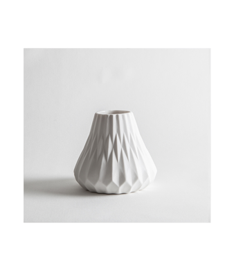 Grey Skies - Angle Vase Small White