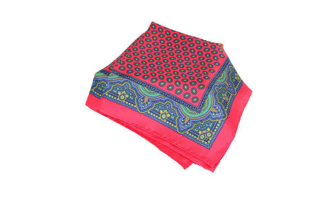 Fuscia with Blue Paisley Border