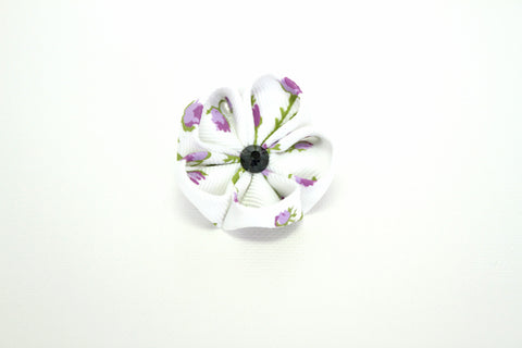 White & Lavender Lapel Push Pin