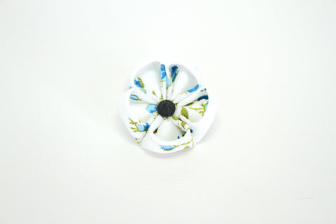 White & Blue with Onyx Lapel Push Pin