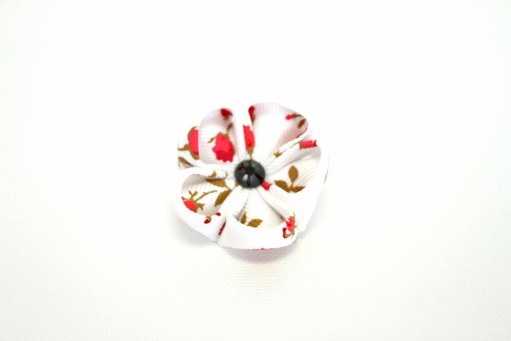 White & Red with Onyx Lapel Push Pin