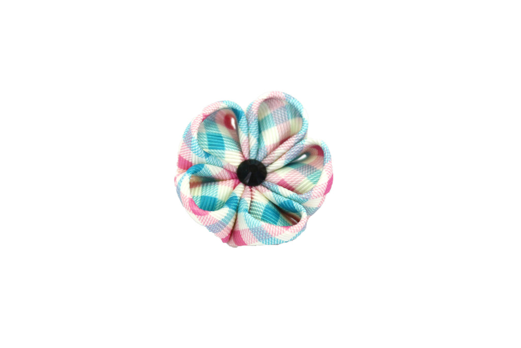 Blue & Pink Plaid Lapel Push Pin