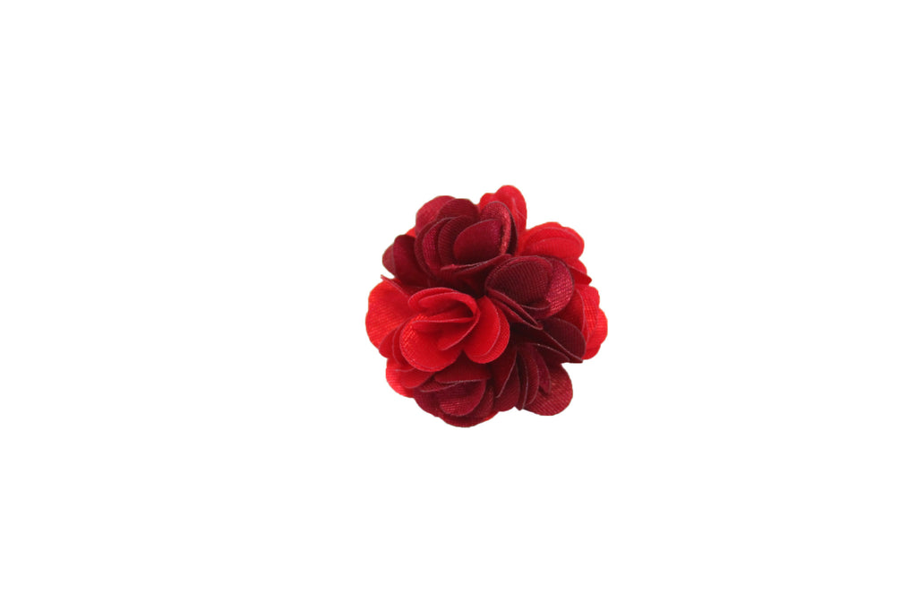 Oxblood Red Petaled Flower Lapel Push Pin