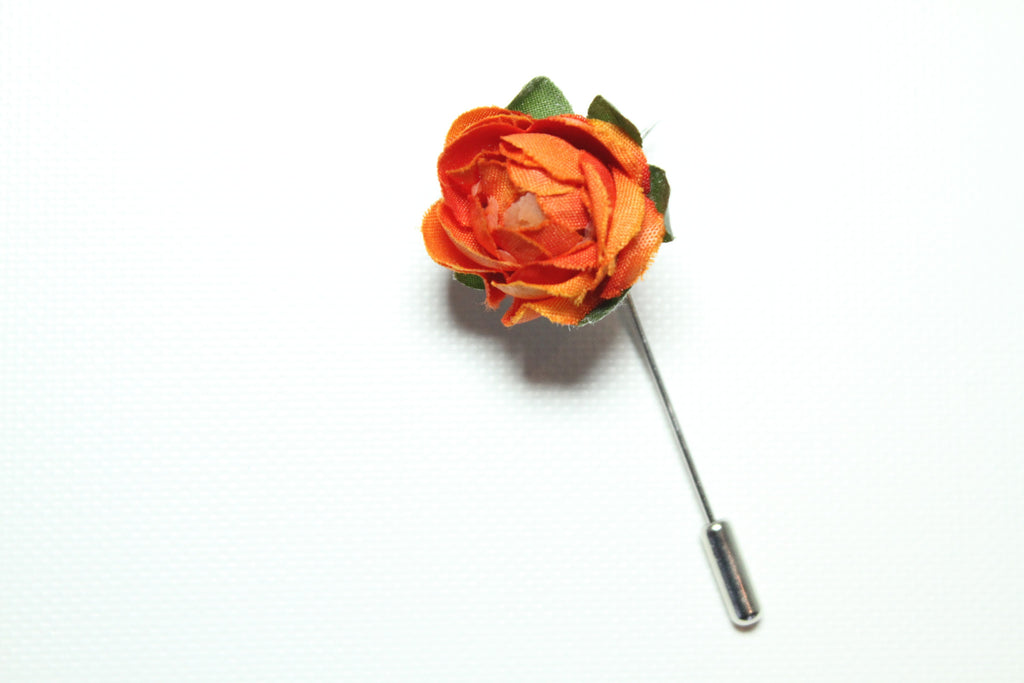 Orange with Foliage Lapel Stick Pin