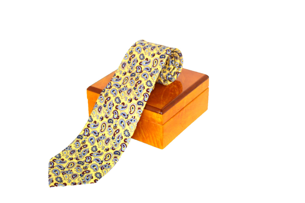 Yellow Micro-Paisley