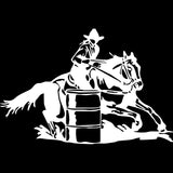 White Barrel Racing Sticker