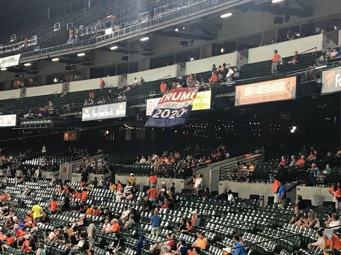 Pro-Trump Supporters Forcefully Removed From Orioles Game for Waving Trump 2020 Banner