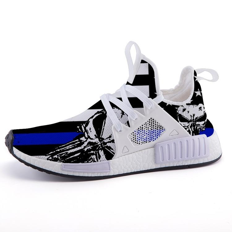 Thin Blue Line Punisher Skull Sport Sneakers - $ 79.95