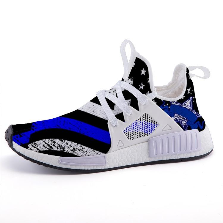 American Thin Blue Line Flag Police Patriotic Emblem Nomad Shoes - $ 89.00