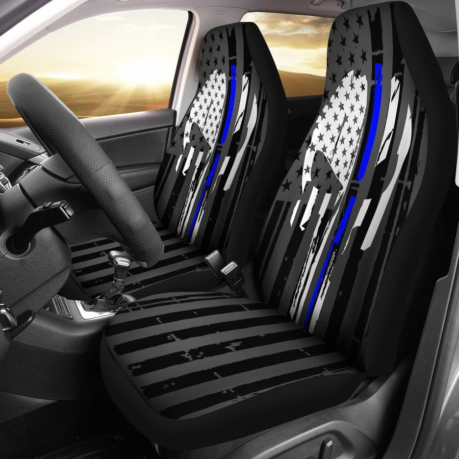 Blue Line Punisher Inspired Car Seat Covers Set Of 2 - $ 79.95