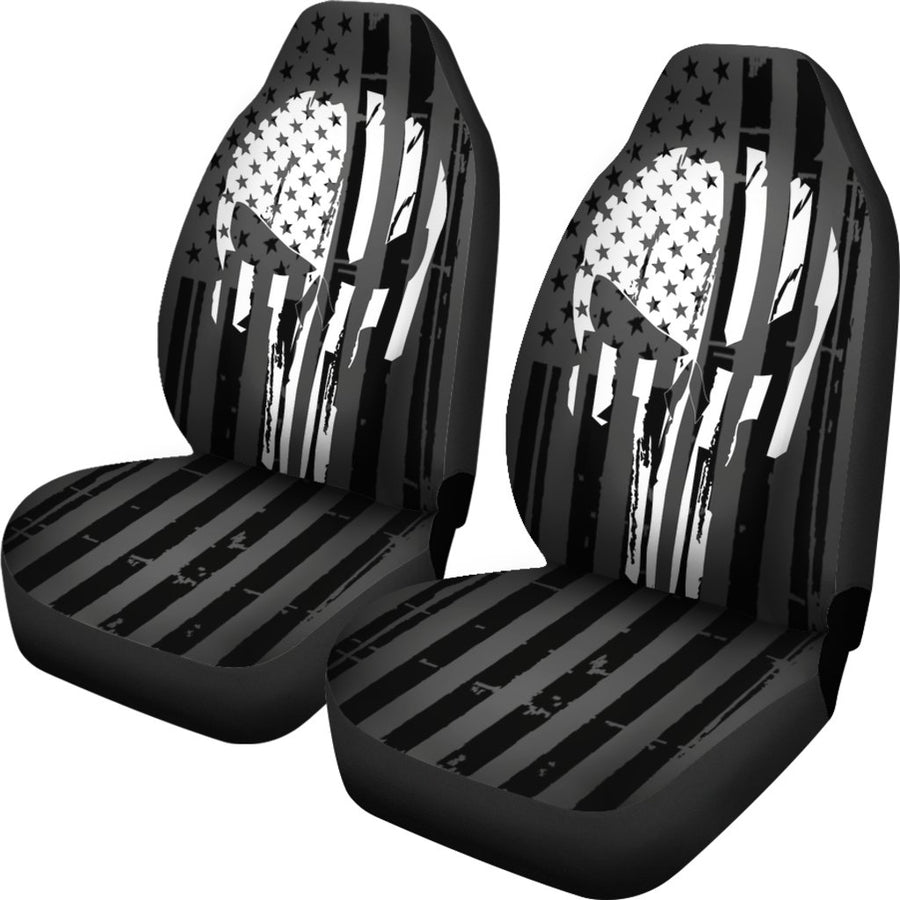 B&W Punisher Inspired Car Seat Cover Set Of 2 - $ 79.95