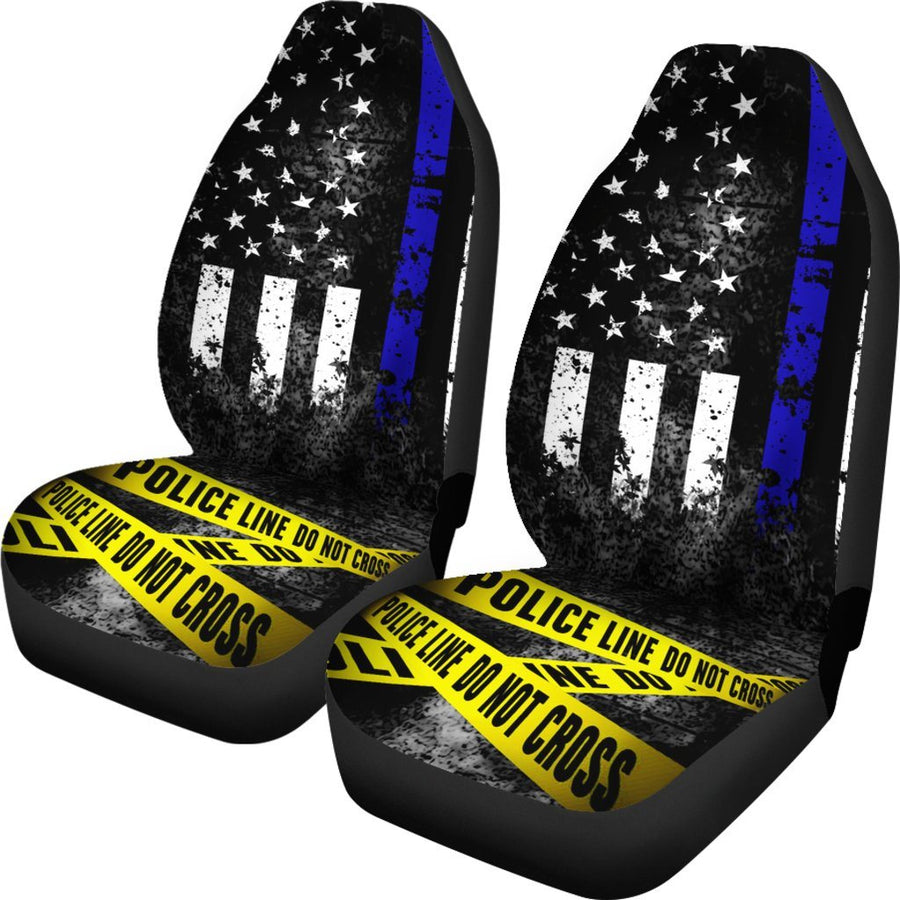 Blue Line Police Car Seat Covers Set Of 2