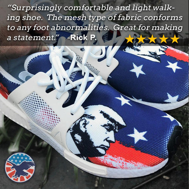 Trump Side View American Flag Nomad Shoes Liberty Tee Shop Donald Trump, donald trump sko, donald trump joggesko, NMD, NMDs, president Trump  Liberty Tee Shop Donald Trump, donald trump shoes, donald trump sneakers, NMD, NMDs, president trump