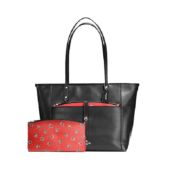City Tote with Pouch in Sienna Rose Print Canvas