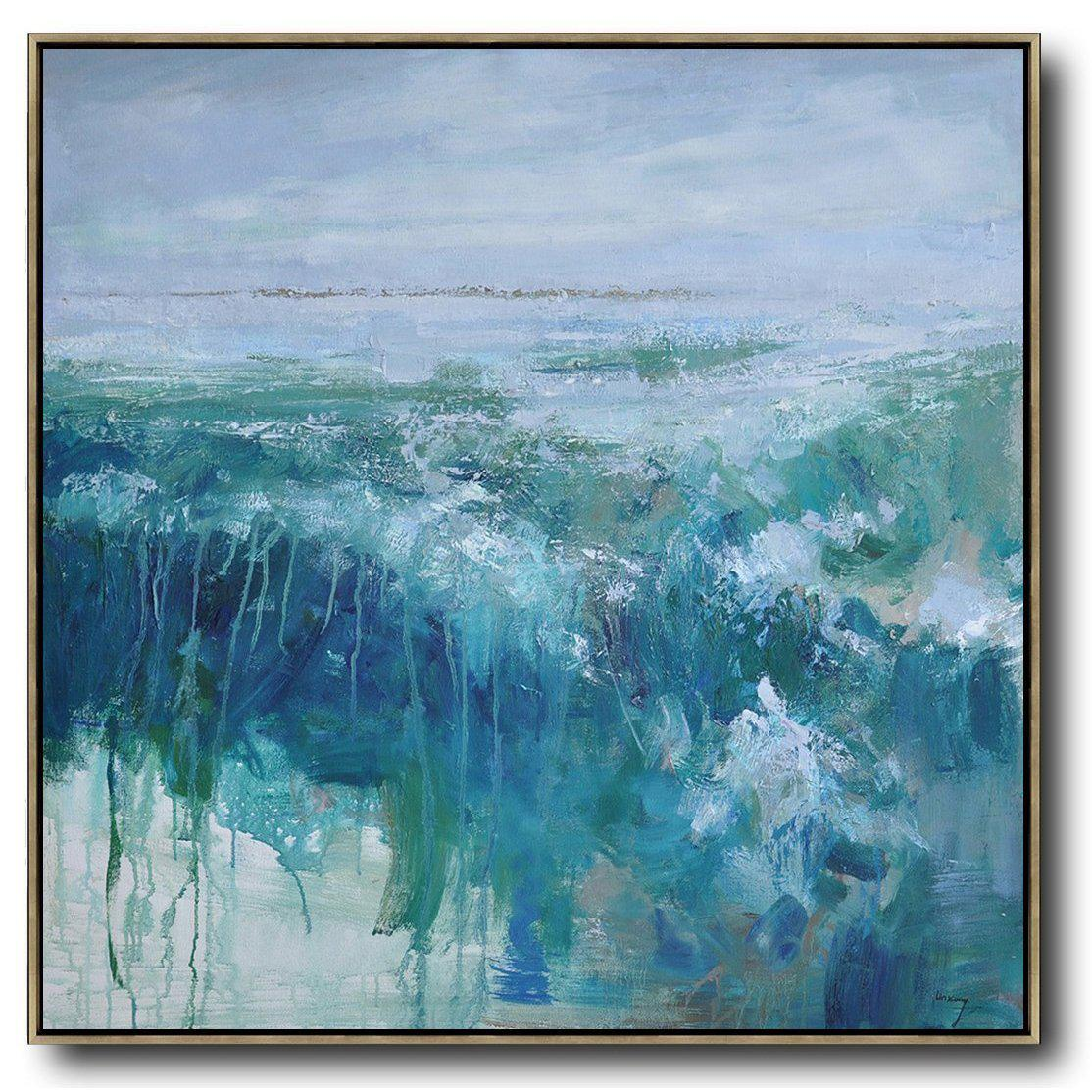 Hand Painted Square Abstract Landscape Oil Painting On Canvas Large Abstract Canvas Art Cz Art Design