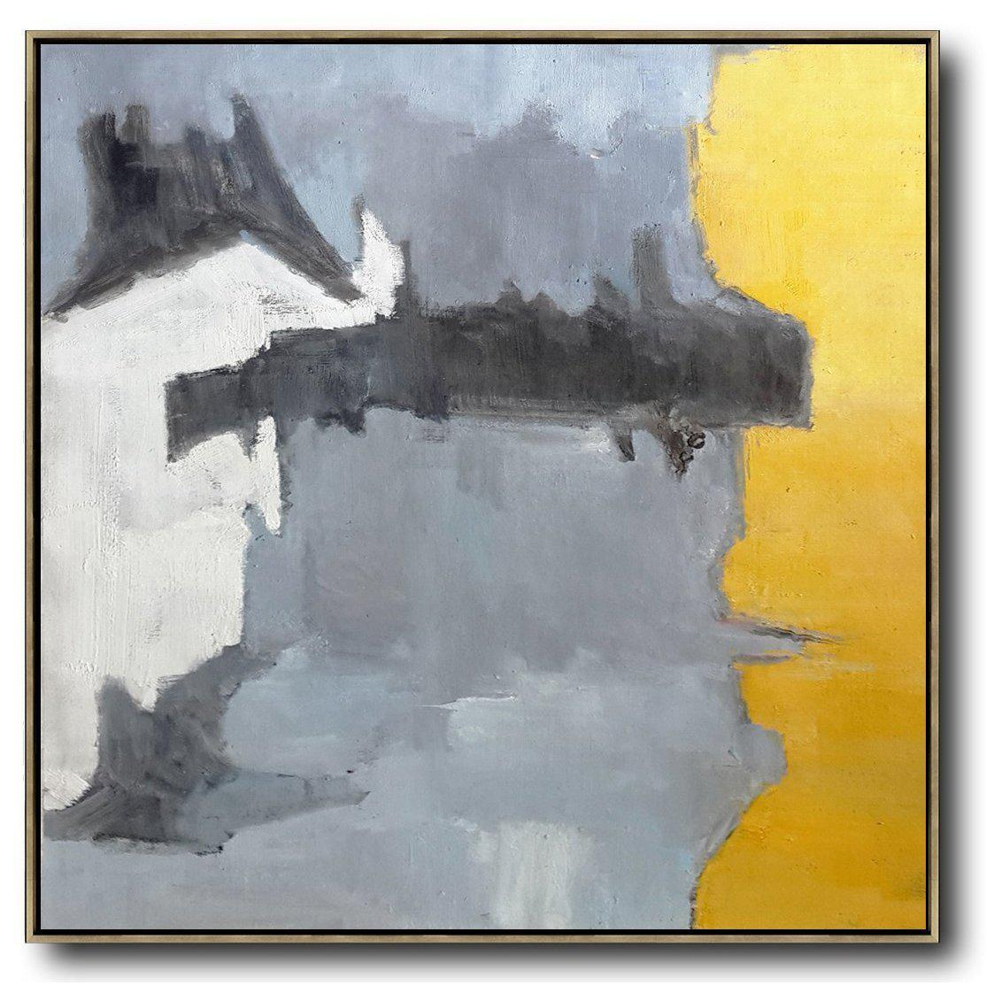 Hand Painted Oversized Contemporary Art Color Block Painting On
