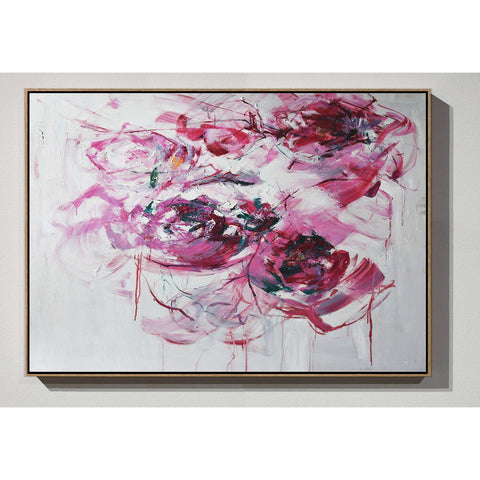 Horizontal Abstract Flower Painting #LX77C-Abstract Art-CZ Art Design(Celine Ziang Art)