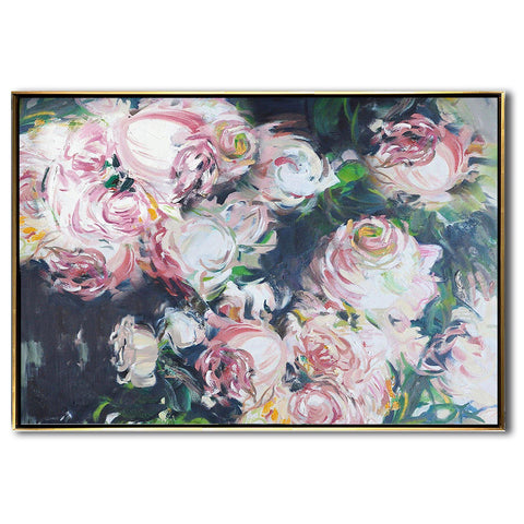 Horizontal Abstract Flower Painting #LX88C-Abstract Art-CZ Art Design(Celine Ziang Art)
