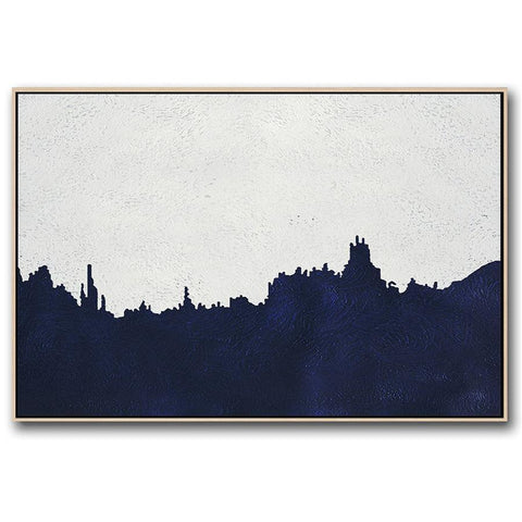 Horizontal Navy Blue Minimal Art #NV145C-Minimal Art-CZ Art Design(Celine Ziang Art)