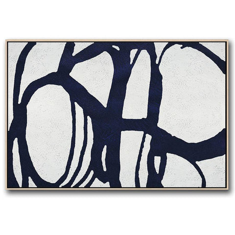 Horizontal Navy Blue Minimal Art #NV150C-Minimal Art-CZ Art Design(Celine Ziang Art)