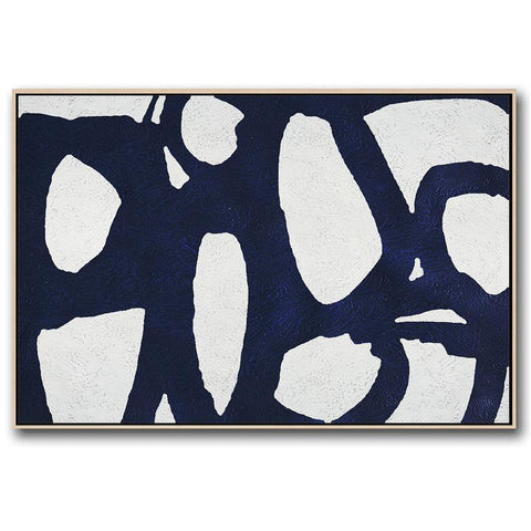 Horizontal Navy Blue Minimal Art #NV151C-Minimal Art-CZ Art Design(Celine Ziang Art)