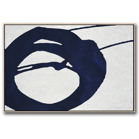 Horizontal Navy Blue Minimal Art #NV154C-Minimal Art-CZ Art Design(Celine Ziang Art)