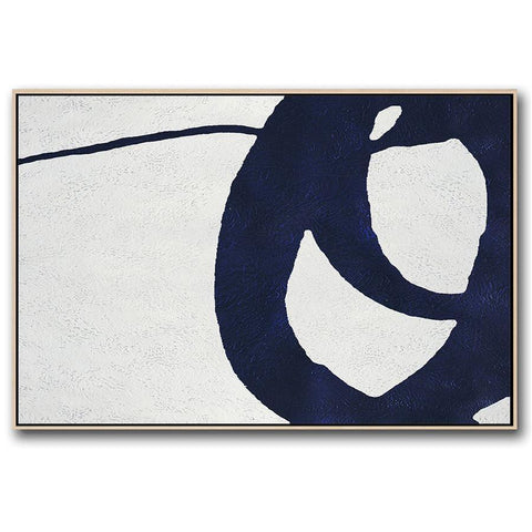 Horizontal Navy Blue Minimal Art #NV155C-Minimal Art-CZ Art Design(Celine Ziang Art)
