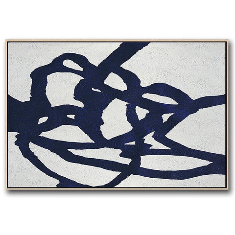 Horizontal Navy Blue Minimal Art #NV176C-Minimal Art-CZ Art Design(Celine Ziang Art)
