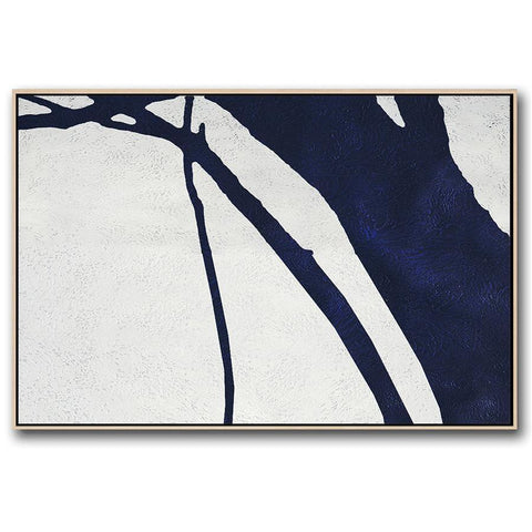 Horizontal Navy Blue Minimal Art #NV193C-Minimal Art-CZ Art Design(Celine Ziang Art)
