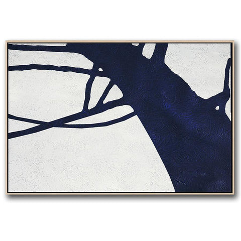 Horizontal Navy Blue Minimal Art #NV194C-Minimal Art-CZ Art Design(Celine Ziang Art)