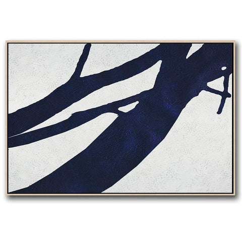 Horizontal Navy Blue Minimal Art #NV195C-Minimal Art-CZ Art Design(Celine Ziang Art)
