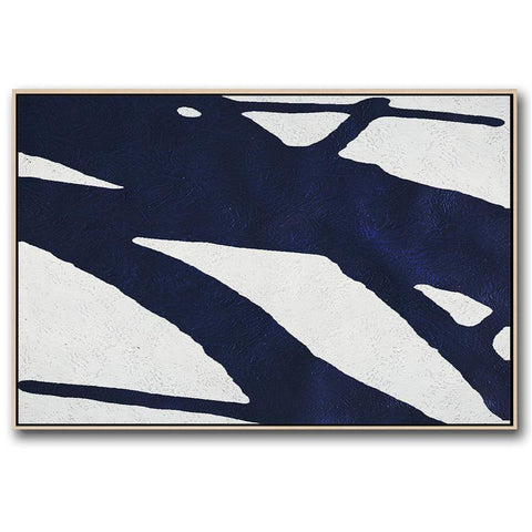 Horizontal Navy Blue Minimal Art #NV201C-Minimal Art-CZ Art Design(Celine Ziang Art)