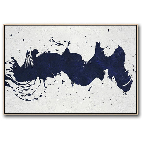 Horizontal Navy Blue Minimal Art #NV202C-Minimal Art-CZ Art Design(Celine Ziang Art)