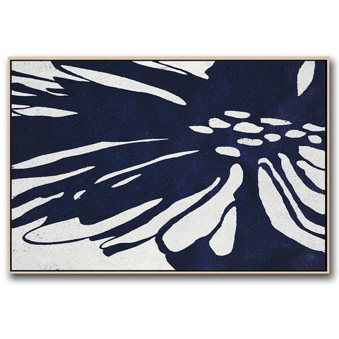 Horizontal Navy Blue Minimal Art #NV287C-Minimal Art-CZ Art Design(Celine Ziang Art)
