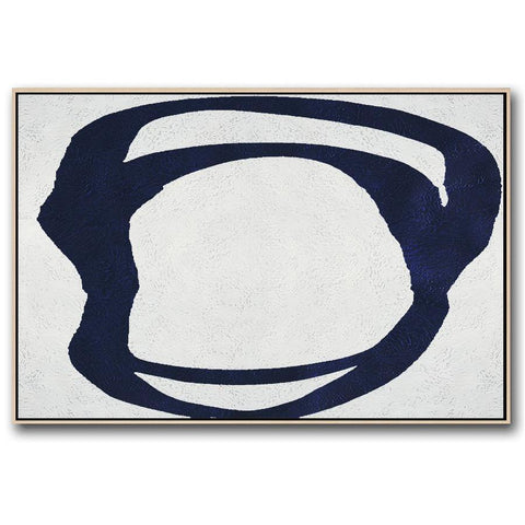 Horizontal Navy Blue Minimal Art #NV313C-Minimal Art-CZ Art Design(Celine Ziang Art)