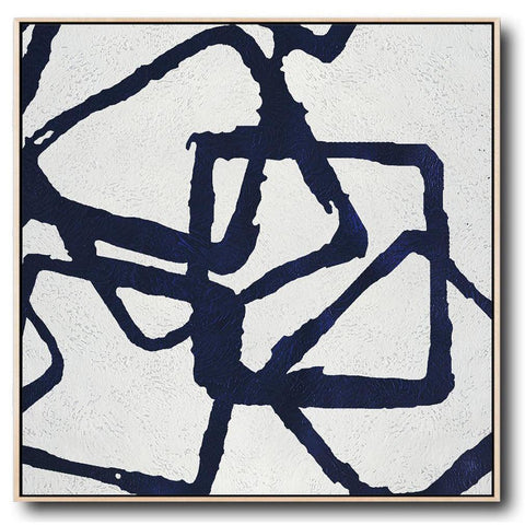 Navy and White Painting #NV14A-Minimal Art-CZ Art Design(Celine Ziang Art)