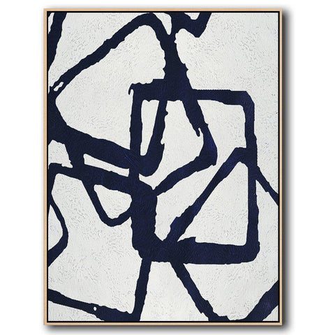 Navy and White Painting #NV14B-Minimal Art-CZ Art Design(Celine Ziang Art)