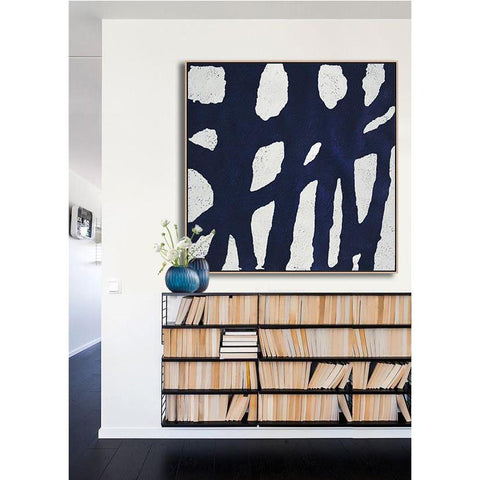 Navy and White Painting #NV1A-Minimal Art-CZ Art Design(Celine Ziang Art)