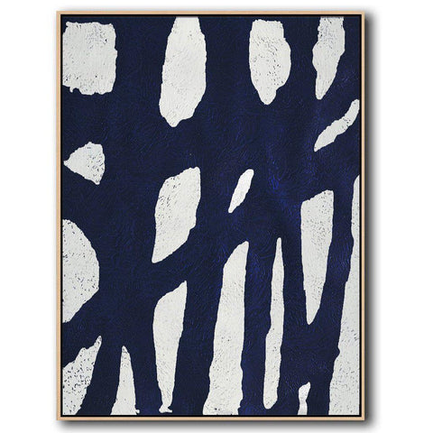 Navy and White Painting #NV1B-Minimal Art-CZ Art Design(Celine Ziang Art)