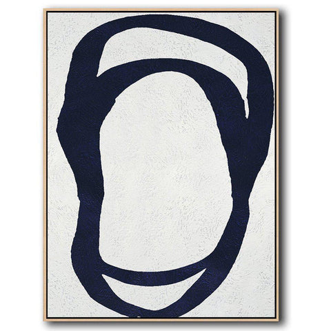 Navy and White Painting #NV20B-Minimal Art-CZ Art Design(Celine Ziang Art)